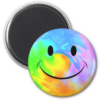 Rainbow Swirl Smiley Face Magnet