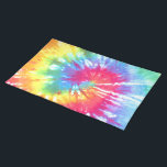 """Rainbow Swirl Tie Dye Placemat<br><div class=""""desc"""">20"""" x 14"""" cloth placemat with an image of rainbow swirl tie dye. See matching paper placemat. See the entire Psychedelic 60s Placemat collection in the FOOD/BEV 
