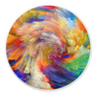 Rainbow Swirl Water Colors Ceramic Knob