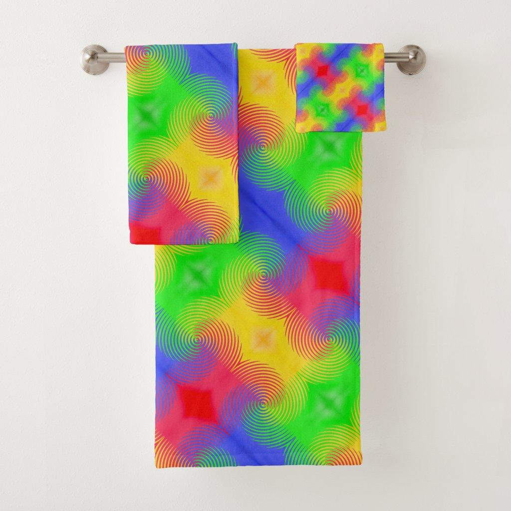 Rainbow Swirls Abstract Design Bath Towels