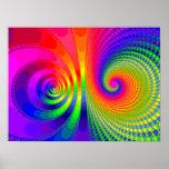 Rainbow swirls fractal graphic print