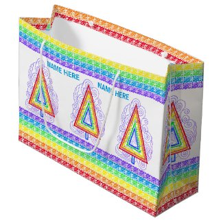 Rainbow Swirly Christmas Tree Modern Abstract Large Gift Bag