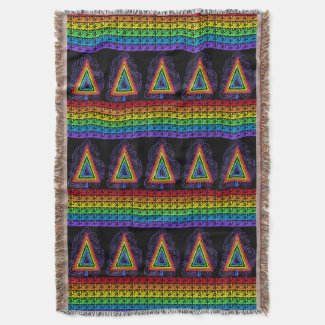 Rainbow Swirly Christmas Tree Modern Holiday Throw Blanket