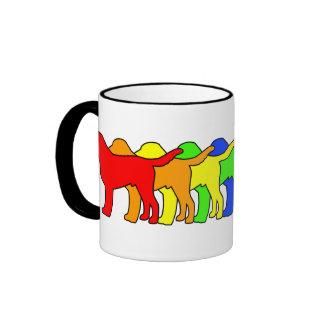 Rainbow Swissie Ringer Coffee Mug