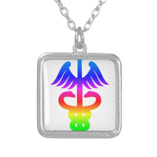 Rainbow Sworduceus Square Pendant Necklace