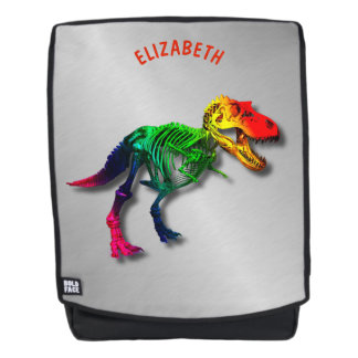 Rainbow T Rex Funny Fossil With Your Name Backpack