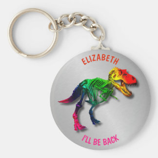 Rainbow T Rex Funny Fossil With Your Name Keychain