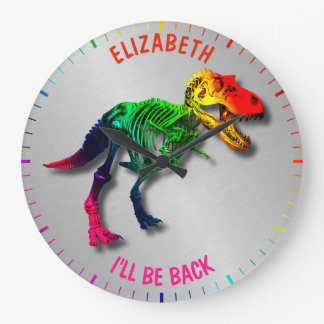 Rainbow T Rex Funny Fossil With Your Name Large Clock