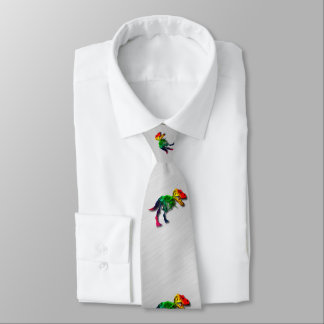 Rainbow T Rex Funny Fossil With Your Name Neck Tie
