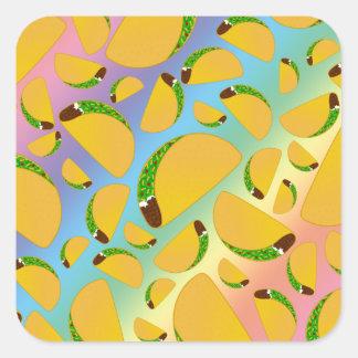Rainbow tacos square sticker