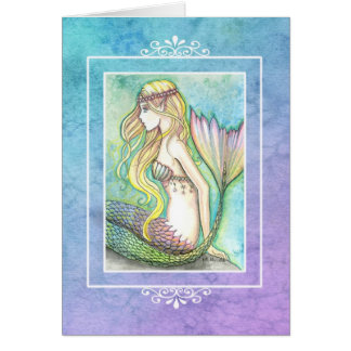Rainbow Tail Mermaid Blank Card