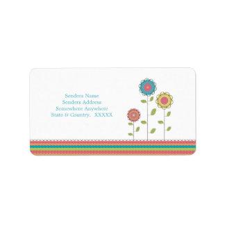 Rainbow Tall Flowers Address Labels