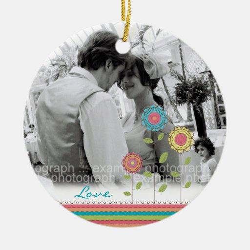 Rainbow Tall Flowers Love Photo Wedding Ornament