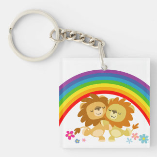 Rainbow Tango-Cute Cartoon Lions Acrylic Keychain