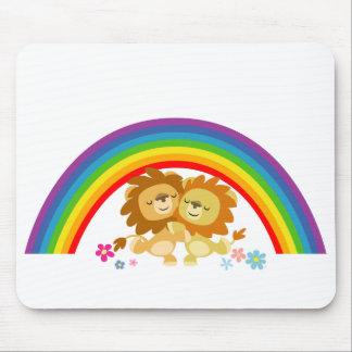 Rainbow Tango-Cute Cartoon Lions Mousepad
