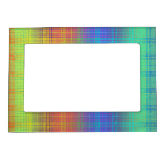 Rainbow Tartan Plaid Customize or Go Bold Plaid Magnetic Photo Frame