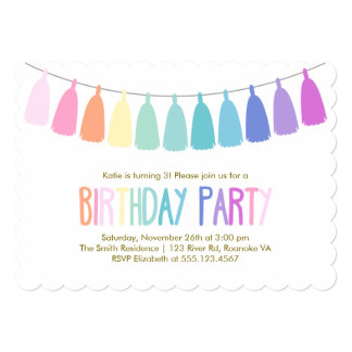 Rainbow Tassel Garland Birthday Party Card