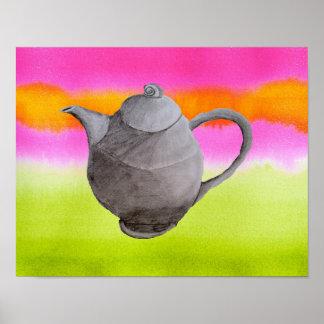 Rainbow teapot arty kitchen art poster