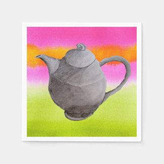 Rainbow teapot tea party standard cocktail napkin