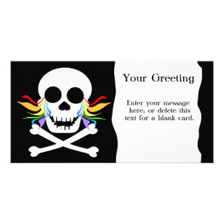 Rainbow Tears White Skull Custom Card