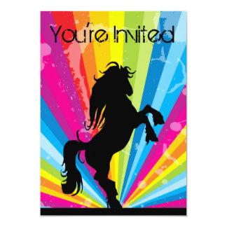 Rainbow Techno Silhouette Horse Birthday Invite