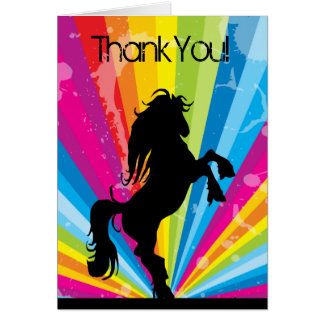 Rainbow Techno Silhouette Horse Thank You Card