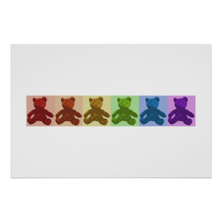 Rainbow Teddy Bears Poster