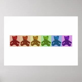 Rainbow Teddy Bears Print
