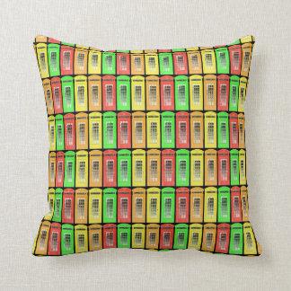 Rainbow Telephone Boxes Throw Pillow