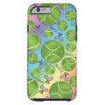 Rainbow tennis balls rackets and nets tough iPhone 6 case
