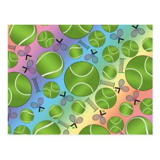 Rainbow tennis balls rackets and nets postcard