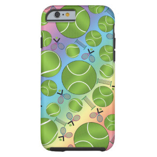 Rainbow tennis balls rackets and nets tough iPhone 6 case