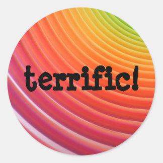 Rainbow terrific sheet round stickers