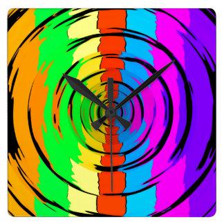 Rainbow Test Pattern Square Wall Clock