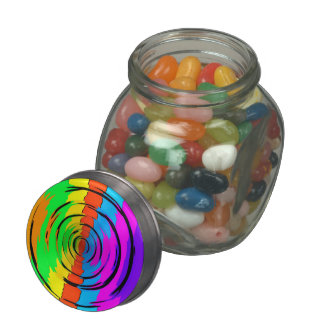 Rainbow Test Pattern Glass Candy Jar