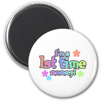 Rainbow Text First Time Mommy 2 Inch Round Magnet