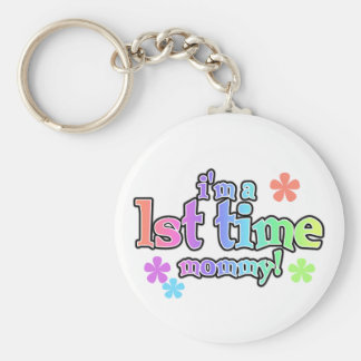 Rainbow Text First Time Mommy Basic Round Button Keychain