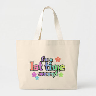 Rainbow Text First Time Mommy Large Tote Bag