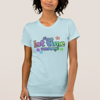 Rainbow Text First Time Mommy T-Shirt