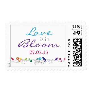 Rainbow Theme Birds Flowers Love Wedding Postage