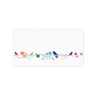 Rainbow Theme Birds Flowers Wedding Blank Address Address Label