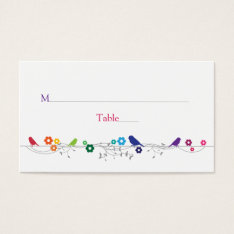 Rainbow Theme Birds Flowers Wedding Place Cards at Zazzle