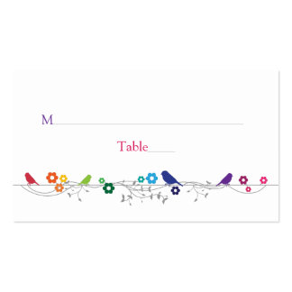 Rainbow Theme Birds Flowers Wedding Place Cards Business Card