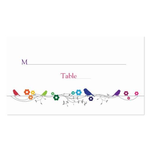 Rainbow Theme Birds Flowers Wedding Place Cards Business Cards