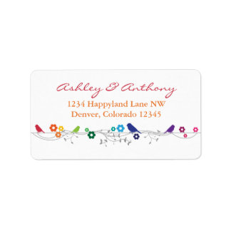 Rainbow Theme Birds Flowers Wedding Return Address Label