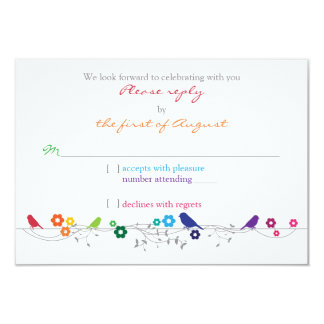 "Rainbow Theme Birds Flowers Wedding RSVP Reply 3.5"" X 5"" Invitation Card"