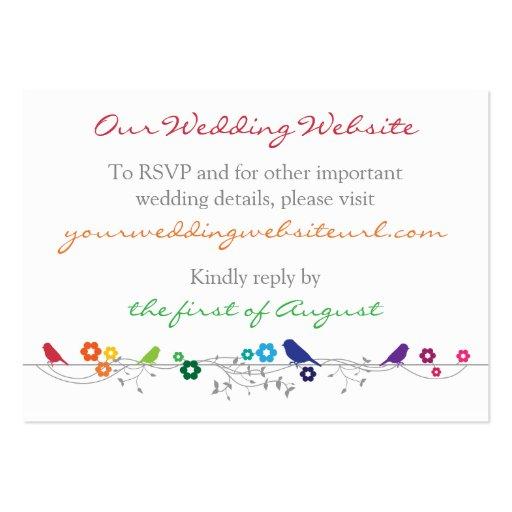 Rainbow Theme Birds Flowers Wedding Website Insert Business Card Templates