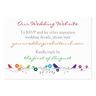 Rainbow Theme Birds Flowers Wedding Website Insert Large Business Card