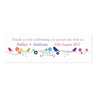 Rainbow Theme Birds Wedding Thank You Favor Tags Double-Sided Mini Business Cards (Pack Of 20)