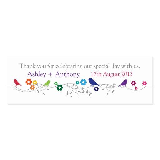Wedding Gift Tags Canada : Rainbow Theme Birds Wedding Thank You Favor Tags Mini Business Card ...
